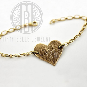 Fingerprint Bracelet in Choice of Bronze or Silver - Maya Belle Jewelry