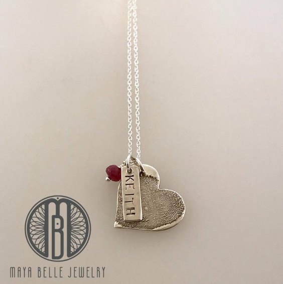 Fingerprint Necklace with Engraving Charm and Birthstone - Maya Belle Jewelry