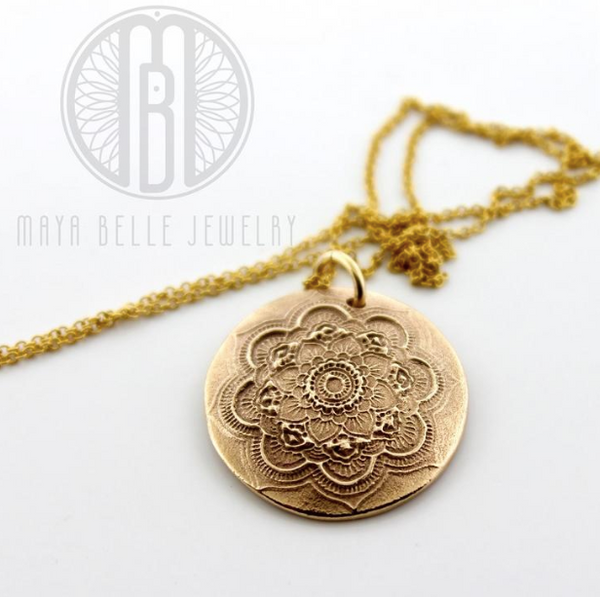 Mandala Necklace with Baby Hand or Footprint - Maya Belle Jewelry