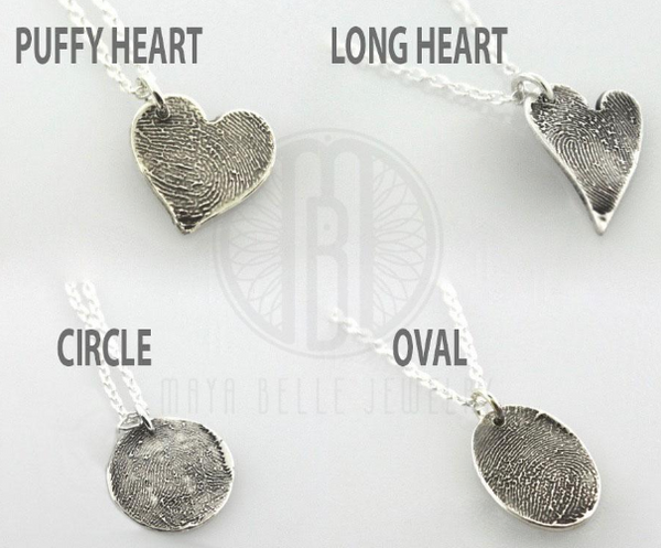 Small Fingerprint Necklace with Handwriting (in Choice of Bronze or Silver and Shape) - Maya Belle Jewelry