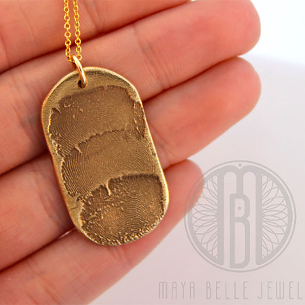 Extra large Custom Dog Tag with 1, 2, or 3 fingerprints in bronze or silver - Maya Belle Jewelry