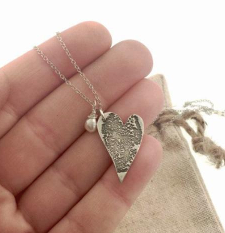Large Fingerprint Necklace with Birthstone in silver or bronze - Maya Belle Jewelry