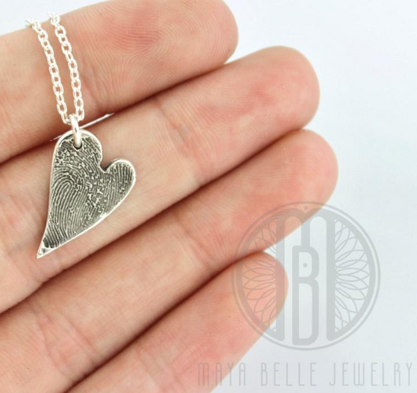 Small Fingerprint Necklace in Bronze or Silver and Custom Shape - Maya Belle Jewelry