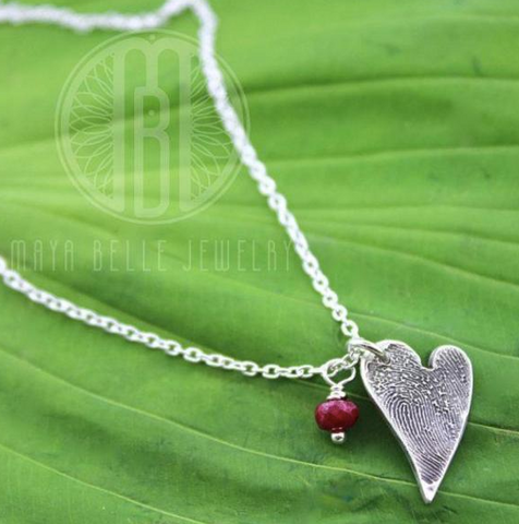 Small Fingerprint Necklace with Birthstone - Maya Belle Jewelry