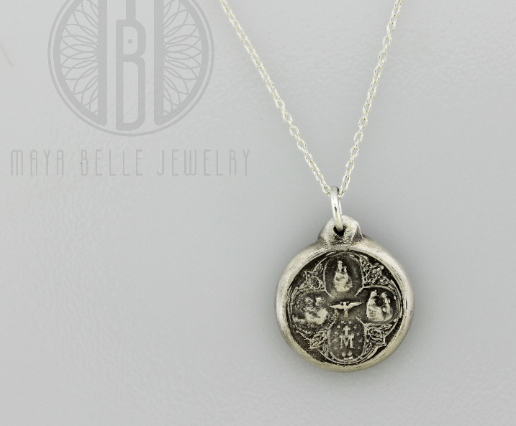 Scapular Metal Pendant in choice of Silver or Bronze - Maya Belle Jewelry