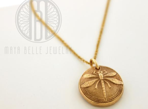 Dragonfly Pendant in Silver or Bronze with Inlaid Birthstone - Maya Belle Jewelry