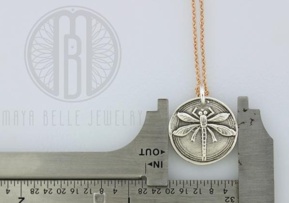 Dragonfly Pendant in Silver or Bronze - Maya Belle Jewelry