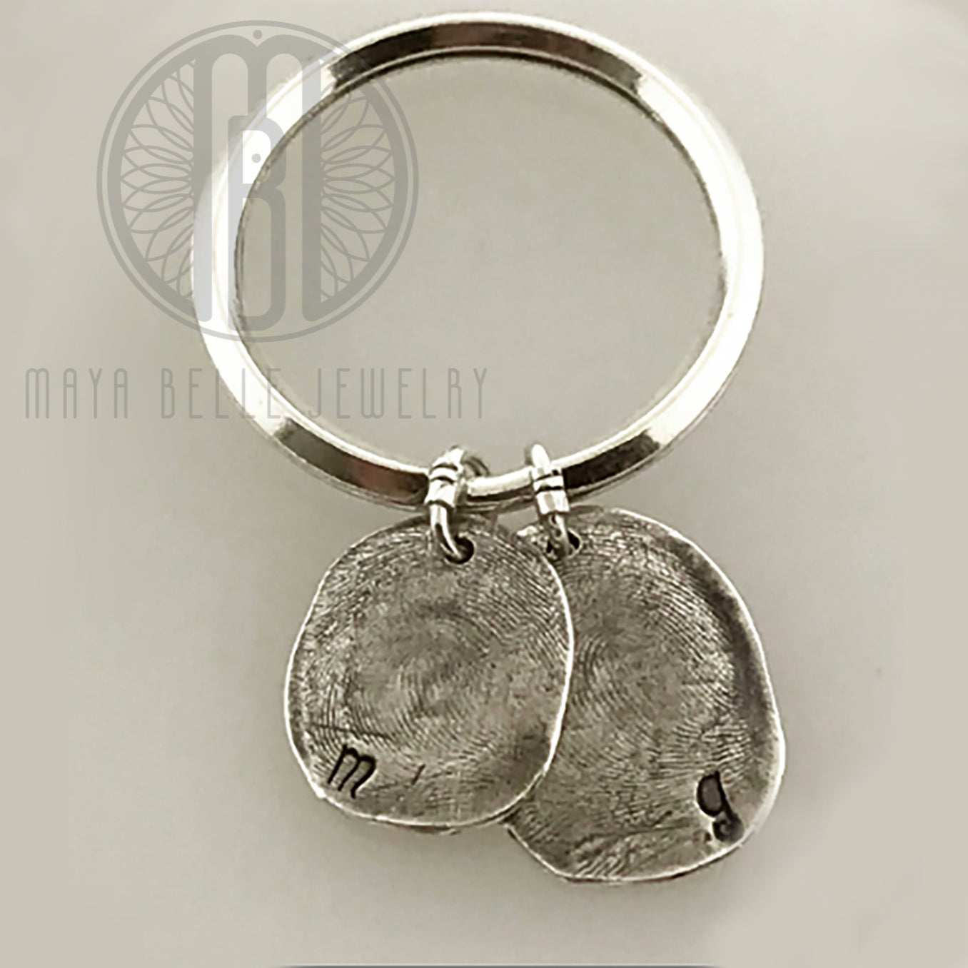 Two Molded Fingerprints Keychain with Choice of Initials - Maya Belle Jewelry