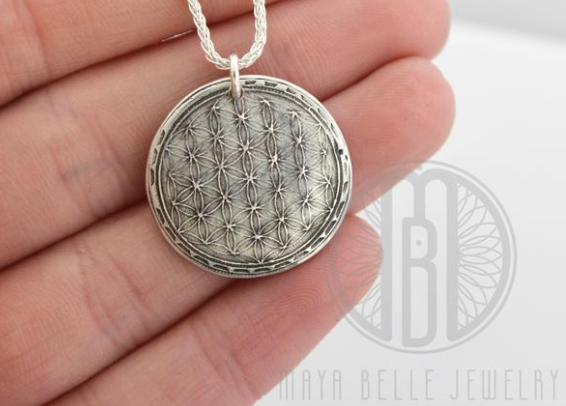 Sacred Geometry Fingerprint Necklace with Inlaid Birthstones