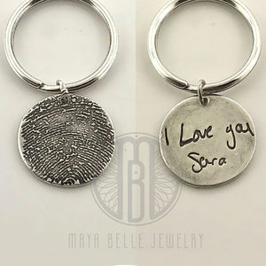 Fingerprint Keychain with Custom Handwriting on the Back in Silver - Maya Belle Jewelry