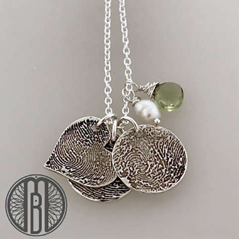 Three Fingerprints Necklace with Choice of Shape and Birthstones - Maya Belle Jewelry
