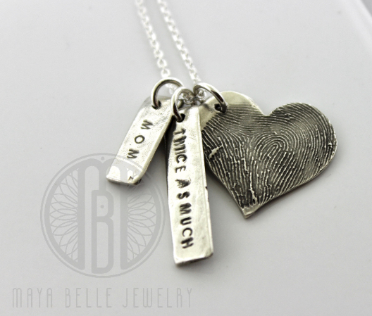 Large Fingerprint Necklace with two Engraving Charms and Birthstone - Maya Belle Jewelry