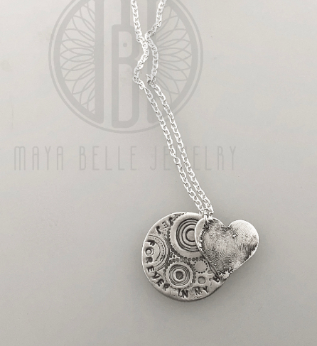 Fingerprint Charm with Personalized Engraving Circle Charm - Maya Belle Jewelry