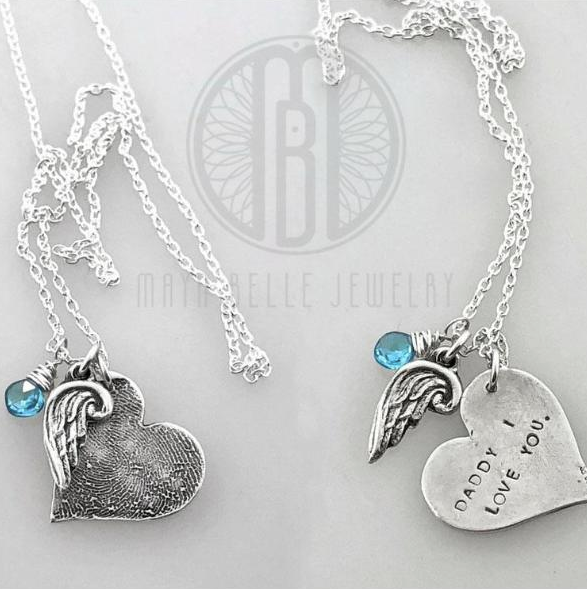 Large Heart Fingerprint Necklace with Angel Wing Charm and Engraving on the Back with Choice of Bronze or Silver and Birthstone
