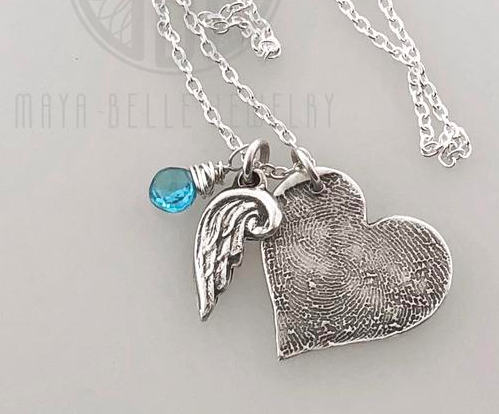 Large Heart Fingerprint Necklace with Angel Wing Charm and Engraving on the Back with Choice of Bronze or Silver and Birthstone - Maya Belle Jewelry