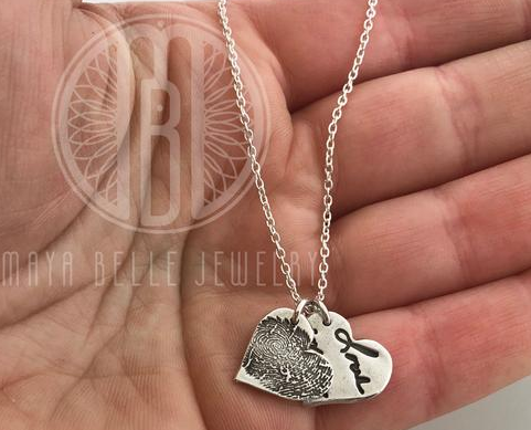 Actual fingerprint and actual handwriting necklace - Maya Belle Jewelry