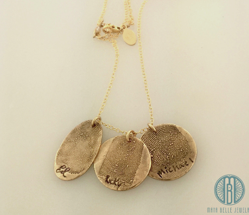 Necklace with Fingerprint and Handwriting on the Front in Choice of shapes and Quantity