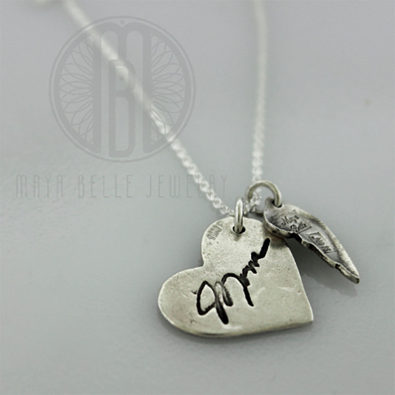 Handwriting Angel Wing Necklace in Silver - Maya Belle Jewelry