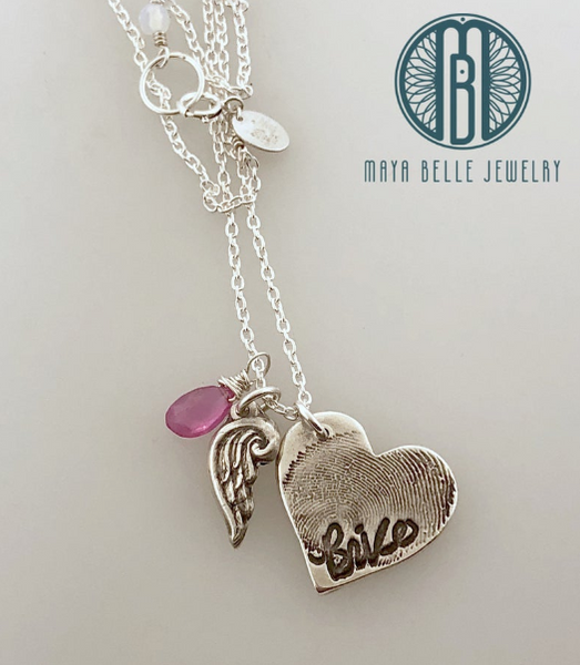 Large Fingerprint with Angel Wing Necklace With Handwriting and Birthstone - Maya Belle Jewelry