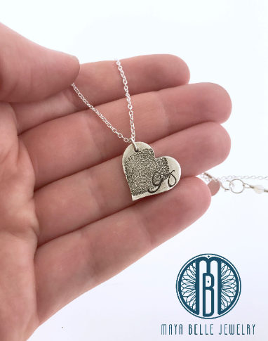 Small Fingerprint Necklace with Handwriting (in Choice of Bronze or Silver and Shape)