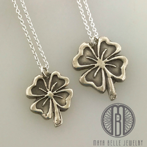 Mother and Daughter Silver Shamrock necklace set - Maya Belle Jewelry