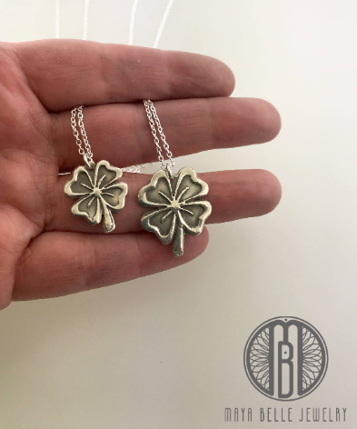 Mother and Daughter Silver Shamrock - Maya Belle Jewelry