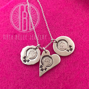 Feminism Symbol Pendant in Choice of Shape - Maya Belle Jewelry