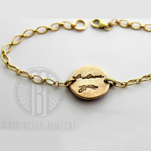 Handwriting Charm Bracelet (With Choice of Silver or Bronze, Shape and up to 5 Charms) - Maya Belle Jewelry