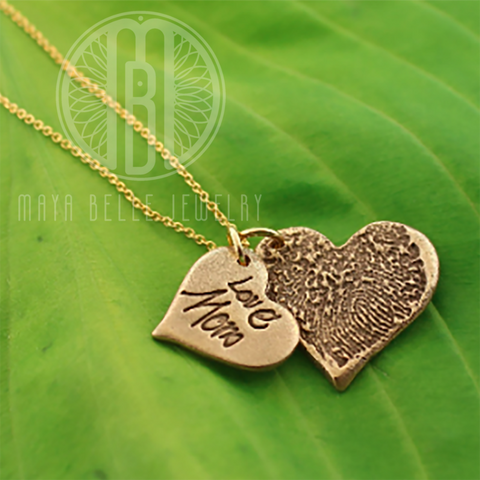 Necklace with One Handwriting and One Fingerprint Charm In Choice of Silver or Bronze and Shape - Maya Belle Jewelry