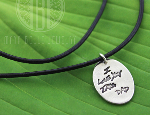 Fingerprint Necklace with Handwriting on the Back on Leather Cord - Maya Belle Jewelry