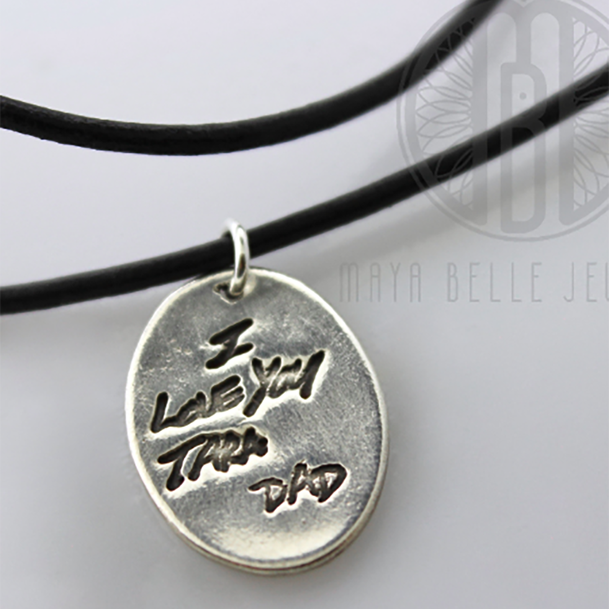 Handwriting Necklace on Leather Cord - Maya Belle Jewelry