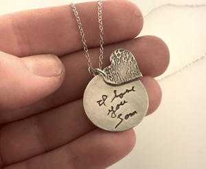 Fingerprint and handwriting keepsake necklace - Maya Belle Jewelry