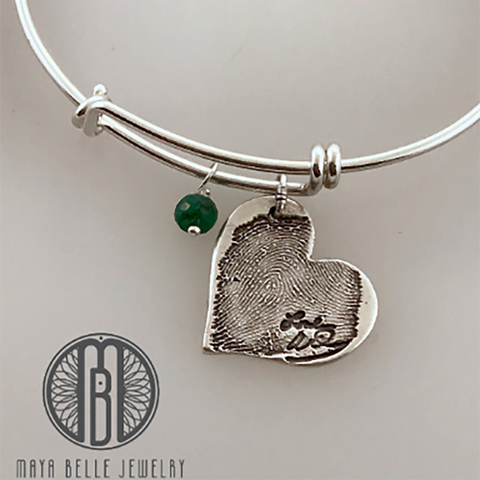 Handwriting and Fingerprint Pendant Bangle with Choice of Birthstone and Shape - Maya Belle Jewelry