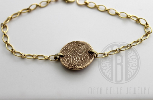 Fingerprint Bracelet With Initials in Choice of Bronze or Silver and Shape