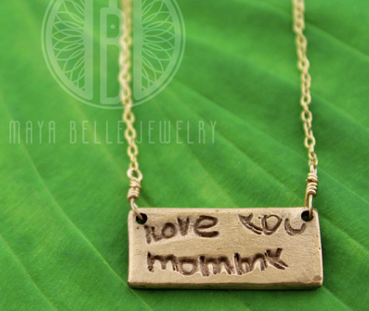 Handwriting Necklace with Engraving on the back in Choice of Silver or Bronze