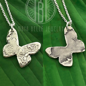 Cirque Butterfly Fingerprint Necklace in Silver - Maya Belle Jewelry
