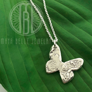 Cirque Butterfly Necklace in Silver - Maya Belle Jewelry