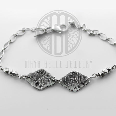 Lotus Fingerprint Charm Bracelet With Silver Geometric Beads (with Choice of Initials, Back Engraving and up to 5 charms) - Maya Belle Jewelry