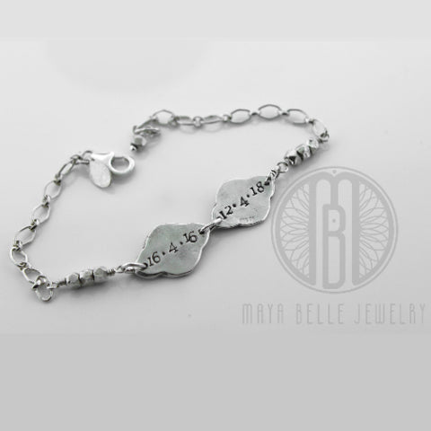 Engraving Bracelet lotus flower charm shape bracelet, - Maya Belle Jewelry