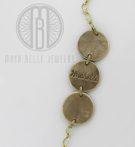 Handwriting and Fingerprint Three Pendant Bracelet - Maya Belle Jewelry