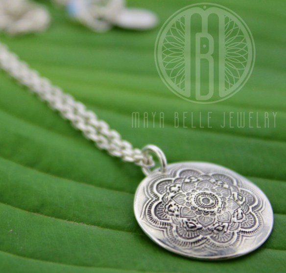 Mandala Pendant Necklace in Choice of Silver or Bronze - Maya Belle Jewelry