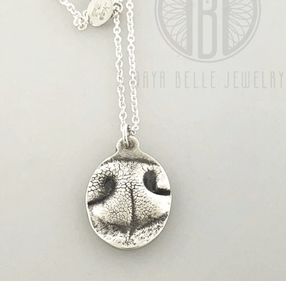 Dog Nose (or Paw) Print Pendant Necklace in Choice of Metal and Shape - Maya Belle Jewelry
