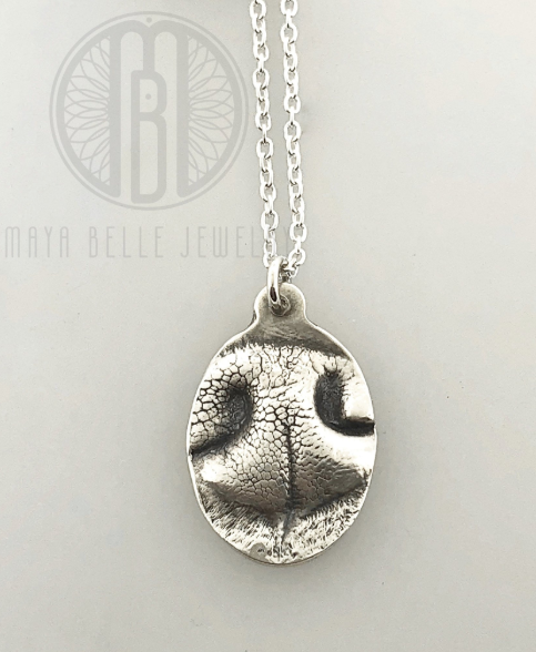 Small Dog Nose (or Paw) Print Pendant Necklace With Engraving on The Back (in Choice of Metal and Shape) - Maya Belle Jewelry