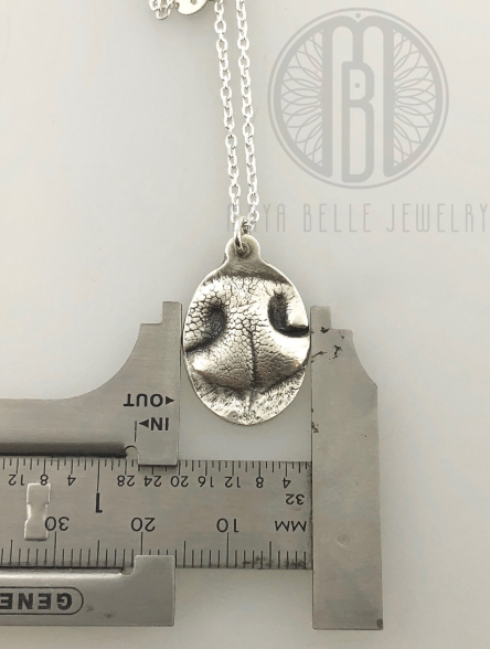 Dog Nose or Paw Print Pendant Necklace in Choice of silver or bronze - Maya Belle Jewelry