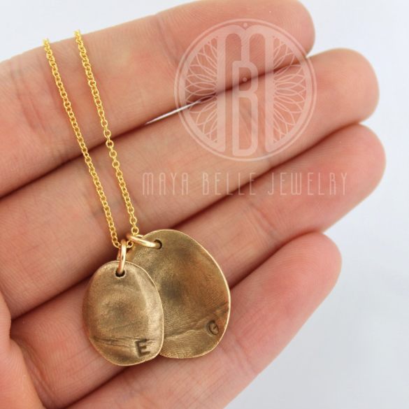 Molded Fingerprint Pendant with Handwriting on the Back in your Choice of Metal, Initial and Quantity - Maya Belle Jewelry
