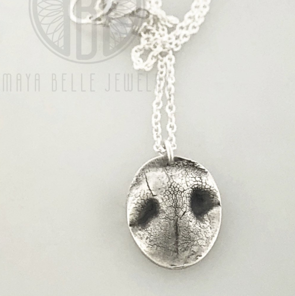 Small Dog Nose or Paw Print Pendant Necklace - Maya Belle Jewelry