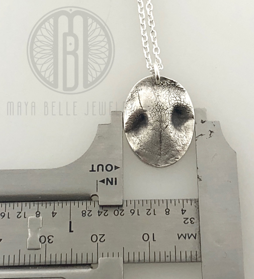 Small Dog Nose (or Paw) Print Pendant Necklace with Choice of Metal and Shape