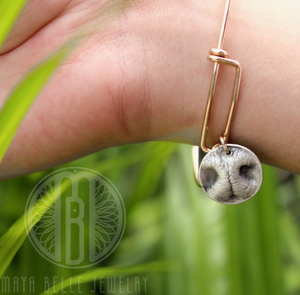 Dog Nose Charm Bangle in Choice of silver, 14k gf, or 14k rose gold - Maya Belle Jewelry