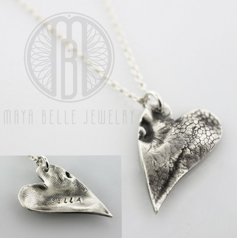 Dog Nose (or Paw) Print Pendant Necklace With Engraving on The Back (in Choice of Metal and Shape) - Maya Belle Jewelry
