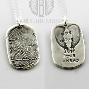 Not Gone Just Gone Ahead Fingerprint or Thumbprint memorial Pendant keepsake dog tag - Maya Belle Jewelry